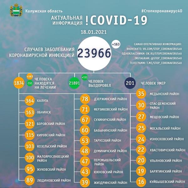 В Калужской области за сутки зарегистрировано ещё 163 больных коронавирусом