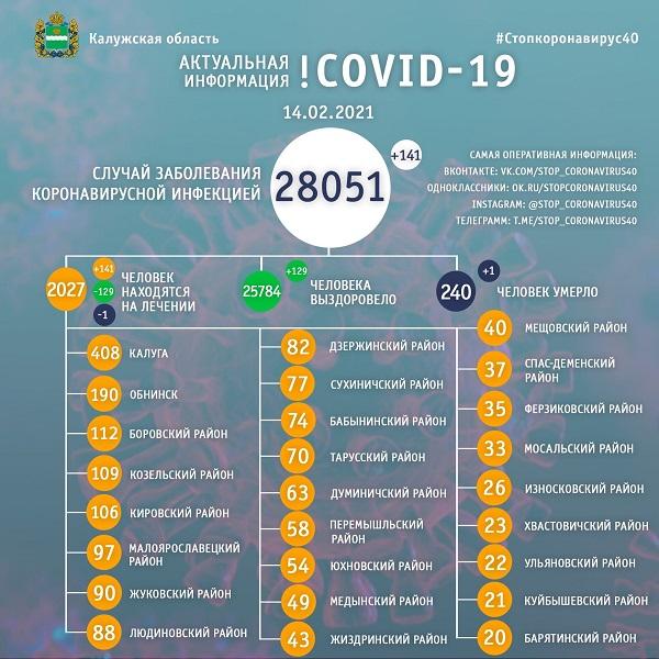 В Калужской области с начала пандемии от коронавируса умерли 240 человек