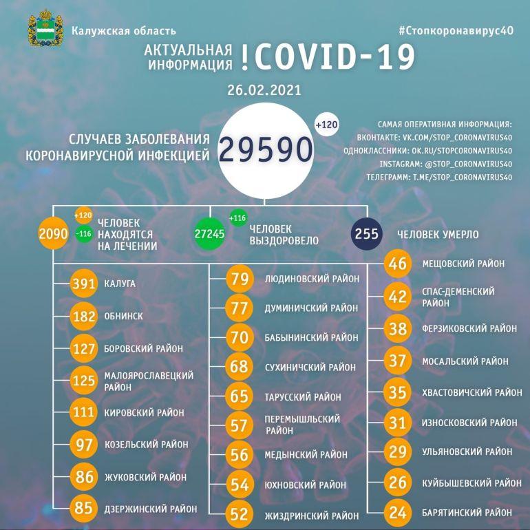 В Калужской области 120 человек заболели коронавирусом 26 февраля