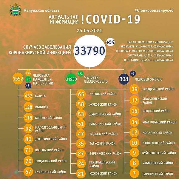 В Калужской области 308 человек умерли от коронавируса с начала пандемии