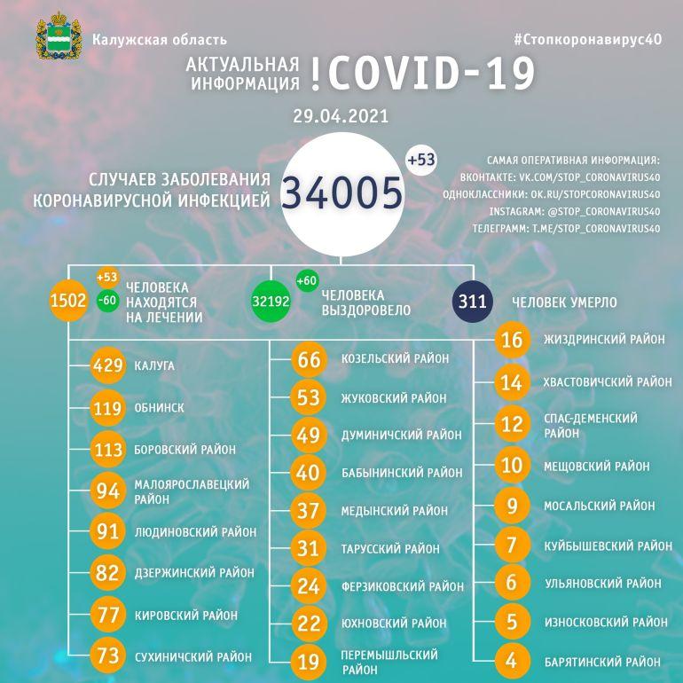В Калужской области количество больных коронавирусом выросло до 34 тысяч