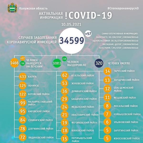 В Калужской области от коронавируса лечатся 1466 человек