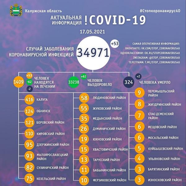 В Калужской области коронавирус унёс жизни двух 64-летних мужчин