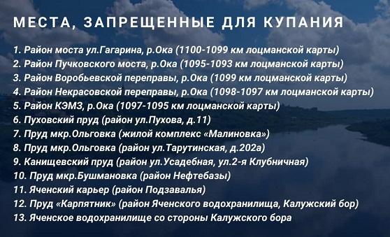 В Калуге определили четыре места отдыха у воды