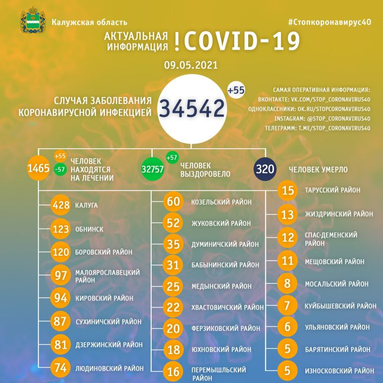 Количество больных коронавирусом в Калужской области за сутки увеличилось на 55 человек