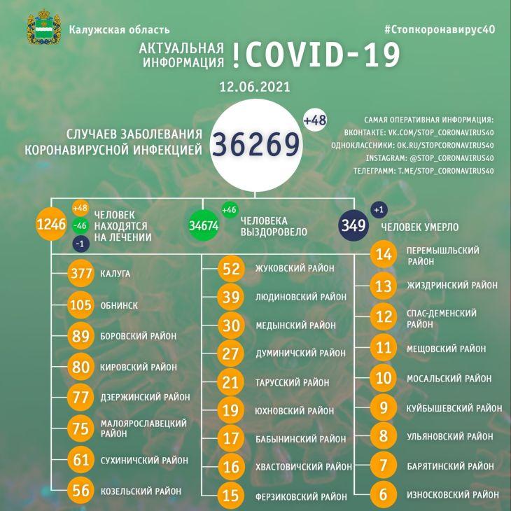 В Калужской области 48 человек заболели коронавирусом 12 июня