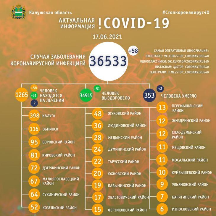 Два человека скончались от коронавируса в Калужской области 17 июня