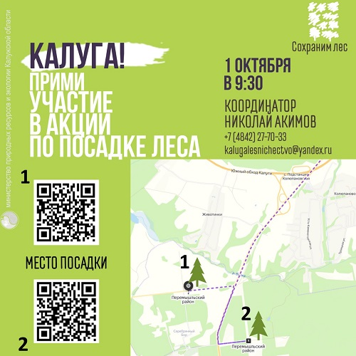 1 октября в лесу под Калугой добровольцы высадят молодые ели и сосны