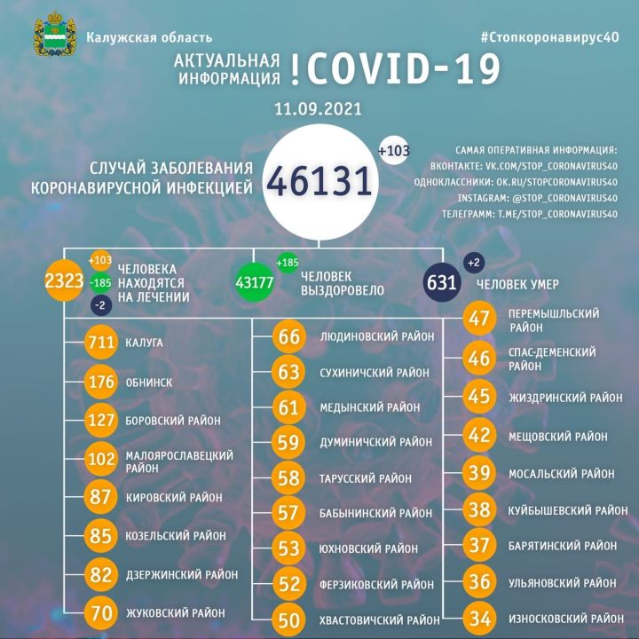 За сутки 103 человека заболели коронавирусом в Калужской области