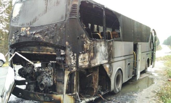 Автобус сдетьми зажегся накалужской трассе